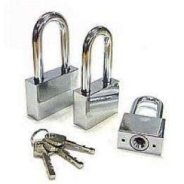 Замок навесной ВС-3040L хром 40мм - 3 ключа дл. дужка. Блистер