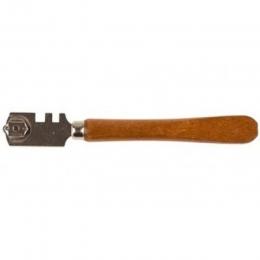 Стеклорез 6-роликовый с деревянной ручкой