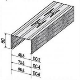 Профиль стоечный ПС-2 50х50х0,55мм L=4м ПрофСталь