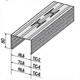 Профиль стоечный ПС-4 75х50х0,55мм L=3м ПрофСталь