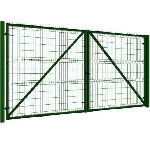 Ворота распашные 3Д 1730х4000мм RAL 6005